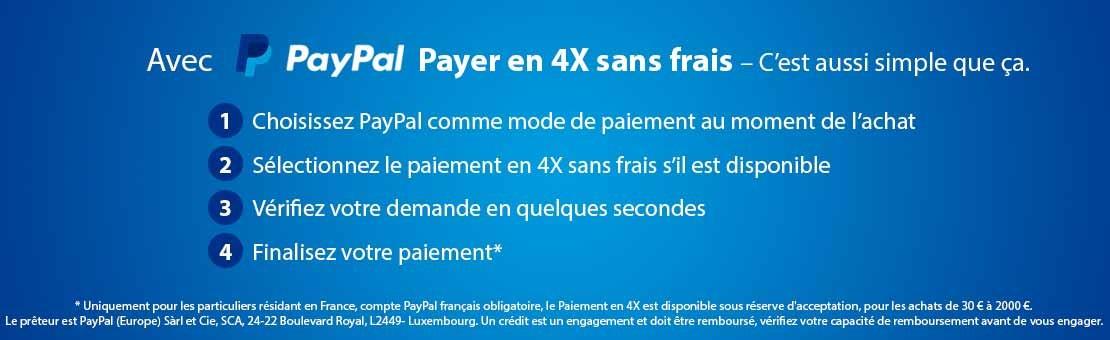 Payez en 4x sans frais avec Paypal